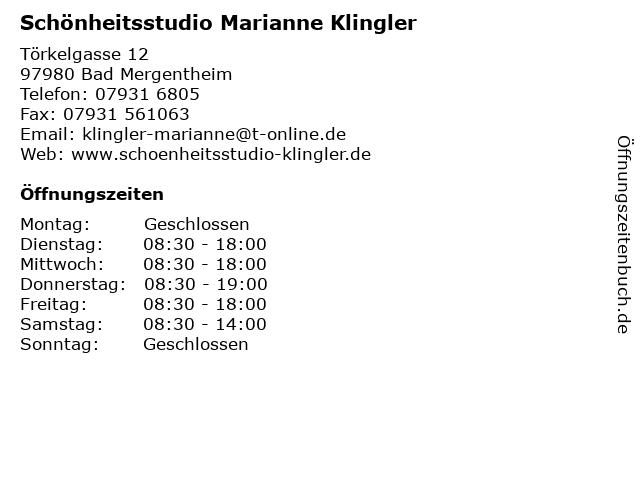 Schönheitsstudio Marianne Klingler in Bad Mergentheim: Adresse und Öffnungszeiten