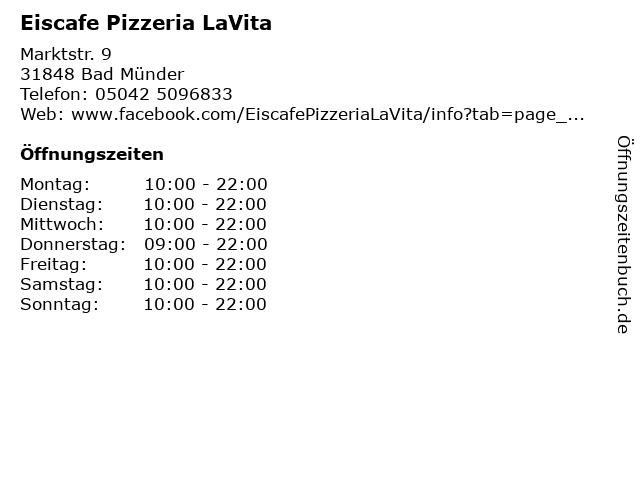 Eiscafe Pizzeria LaVita in Bad Münder: Adresse und Öffnungszeiten