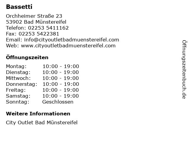 Bassetti in Bad Münstereifel: Adresse und Öffnungszeiten