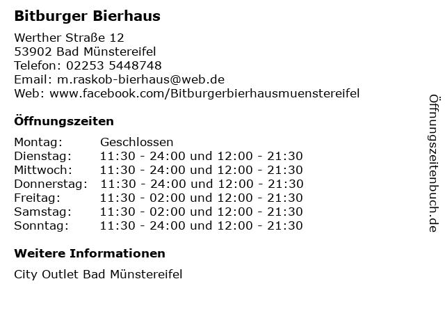 Bitburger Bierhaus in Bad Münstereifel: Adresse und Öffnungszeiten
