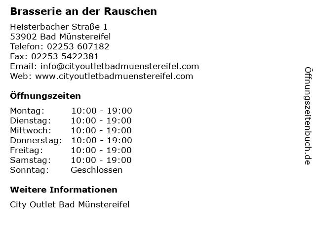 Brasserie an der Rauschen in Bad Münstereifel: Adresse und Öffnungszeiten