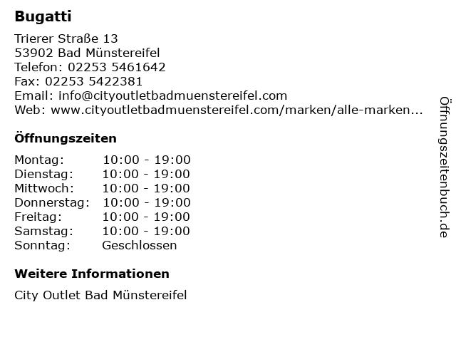 Bugatti in Bad Münstereifel: Adresse und Öffnungszeiten