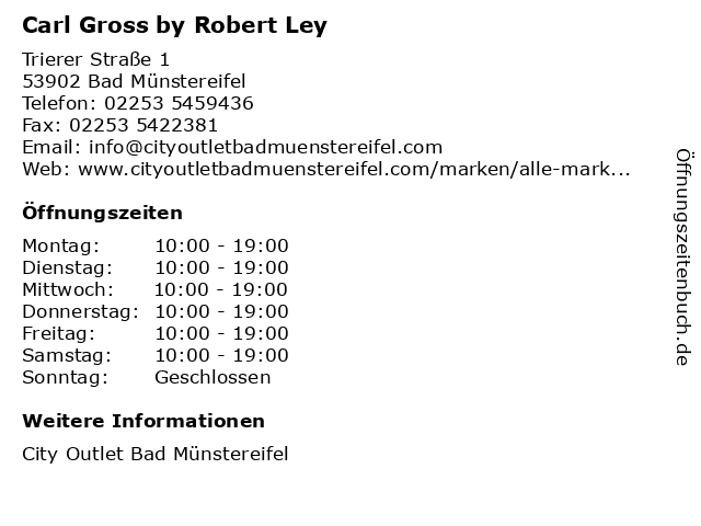 Carl Gross by Robert Ley in Bad Münstereifel: Adresse und Öffnungszeiten