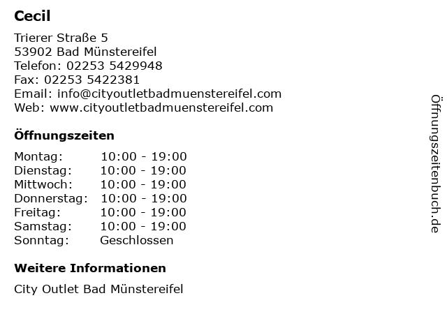 Cecil in Bad Münstereifel: Adresse und Öffnungszeiten