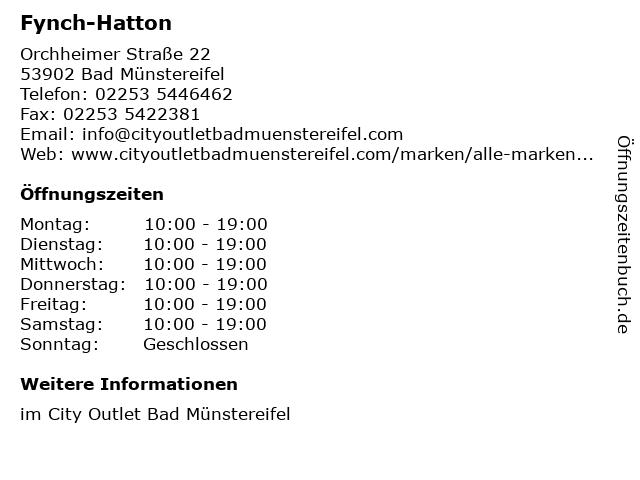 Fynch-Hatton in Bad Münstereifel: Adresse und Öffnungszeiten