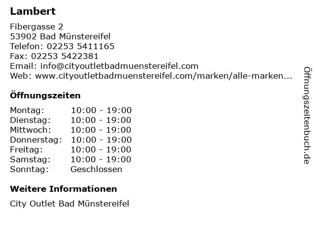 Lambert in Bad Münstereifel: Adresse und Öffnungszeiten