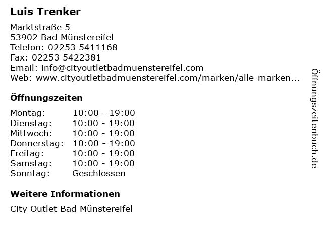 Luis Trenker in Bad Münstereifel: Adresse und Öffnungszeiten