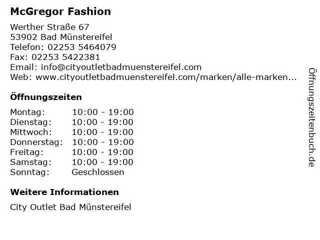 McGregor Fashion in Bad Münstereifel: Adresse und Öffnungszeiten