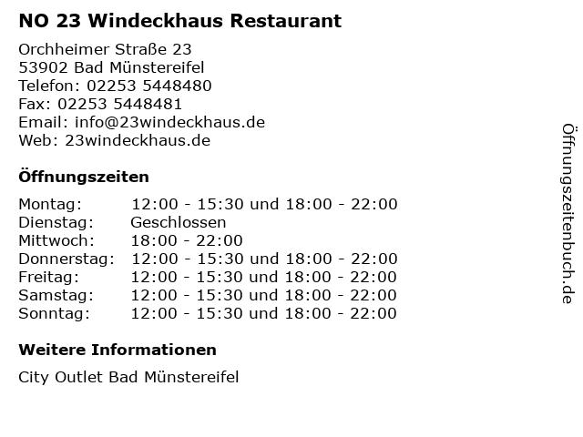 NO 23 Windeckhaus Restaurant in Bad Münstereifel: Adresse und Öffnungszeiten