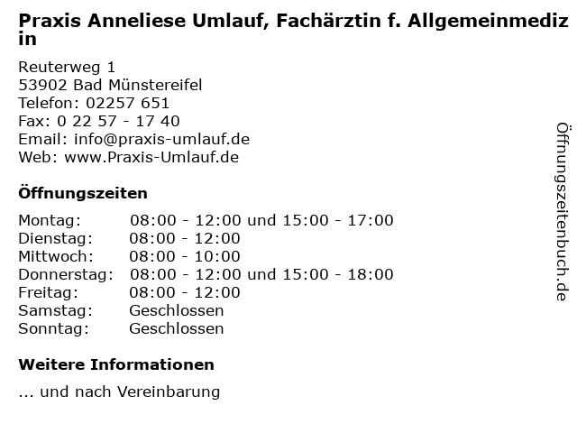 Praxis Anneliese Umlauf, Fachärztin f. Allgemeinmedizin in Bad Münstereifel: Adresse und Öffnungszeiten