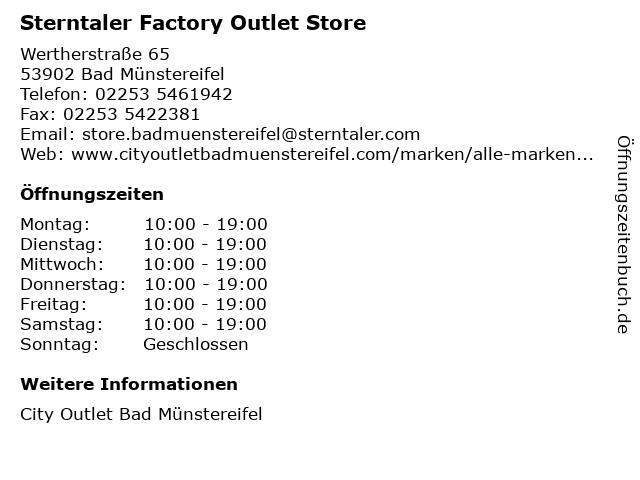 Sterntaler Factory Outlet Store in Bad Münstereifel: Adresse und Öffnungszeiten