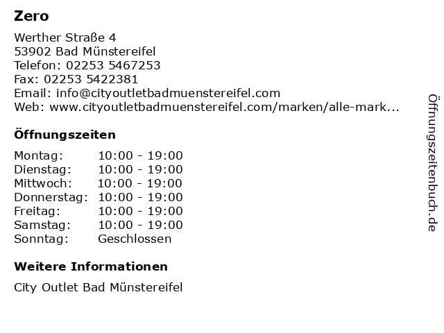 Zero in Bad Münstereifel: Adresse und Öffnungszeiten
