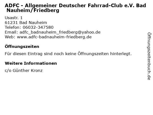 ADFC - Allgemeiner Deutscher Fahrrad-Club e.V. Bad Nauheim/Friedberg in Bad Nauheim: Adresse und Öffnungszeiten