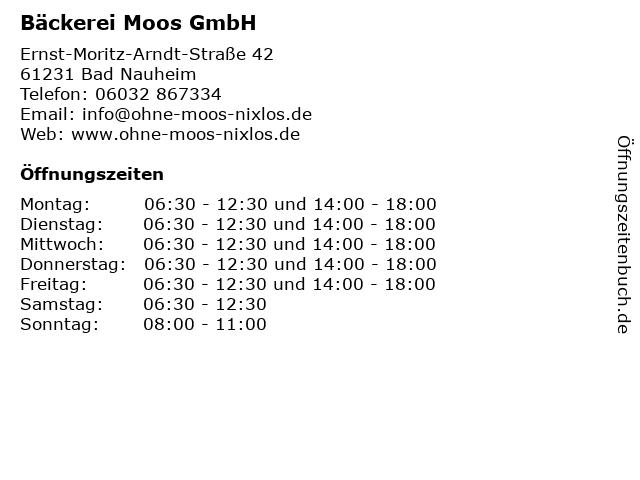 Bäckerei Moos GmbH in Bad Nauheim: Adresse und Öffnungszeiten