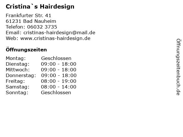 """Cristina""""s Hairdesign Inh. Cristina Bartesch in Bad Nauheim: Adresse und Öffnungszeiten"""