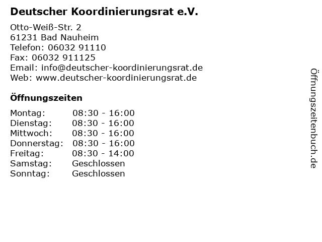 Deutscher Koordinierungsrat e.V. in Bad Nauheim: Adresse und Öffnungszeiten