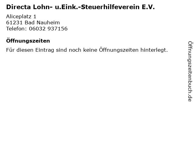 Directa Lohn- u.Eink.-Steuerhilfeverein E.V. in Bad Nauheim: Adresse und Öffnungszeiten