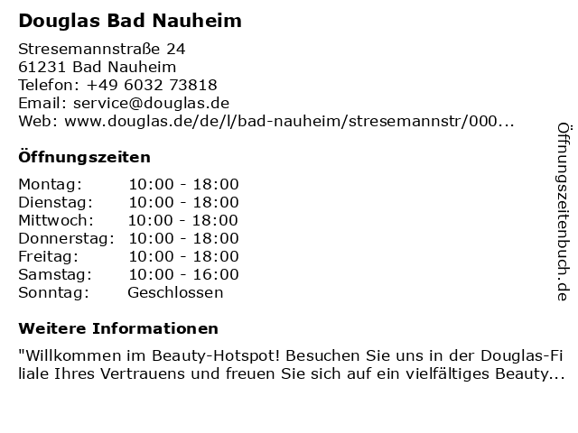 Douglas Bad Nauheim in Bad Nauheim: Adresse und Öffnungszeiten
