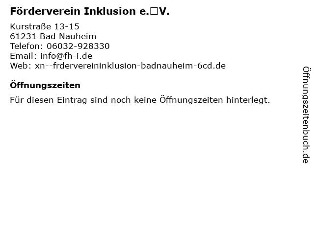 Förderverein Inklusion e.V. in Bad Nauheim: Adresse und Öffnungszeiten