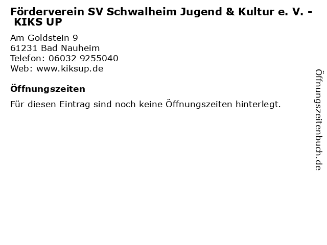 Förderverein SV Schwalheim Jugend & Kultur e. V. - KIKS UP in Bad Nauheim: Adresse und Öffnungszeiten