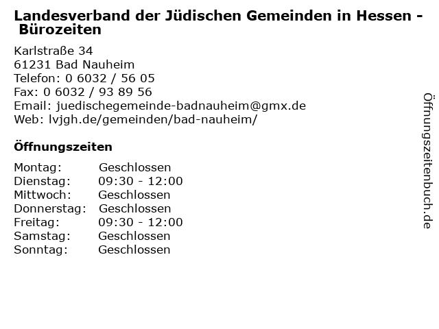 Landesverband der Jüdischen Gemeinden in Hessen - Bürozeiten in Bad Nauheim: Adresse und Öffnungszeiten