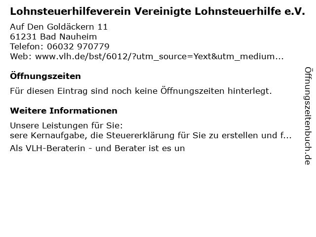 Lohnsteuerhilfeverein vereinigte Lohnsteuerhilfe e.V. Beratungsstelle in Bad Nauheim: Adresse und Öffnungszeiten