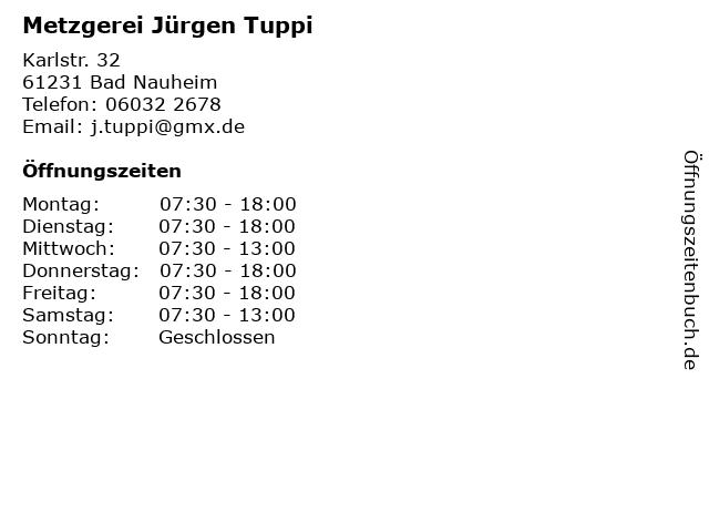 Metzgerei Jürgen Tuppi in Bad Nauheim: Adresse und Öffnungszeiten