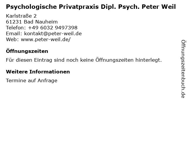 Psychologische Privatpraxis Dipl. Psych. Peter Weil in Bad Nauheim: Adresse und Öffnungszeiten