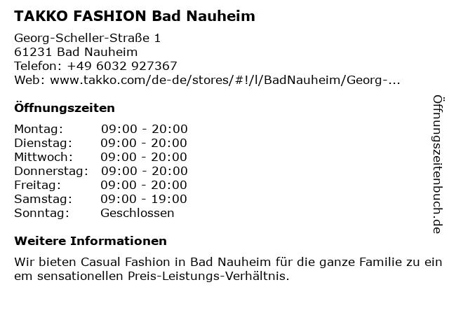 Takko Fashion in Bad Nauheim: Adresse und Öffnungszeiten