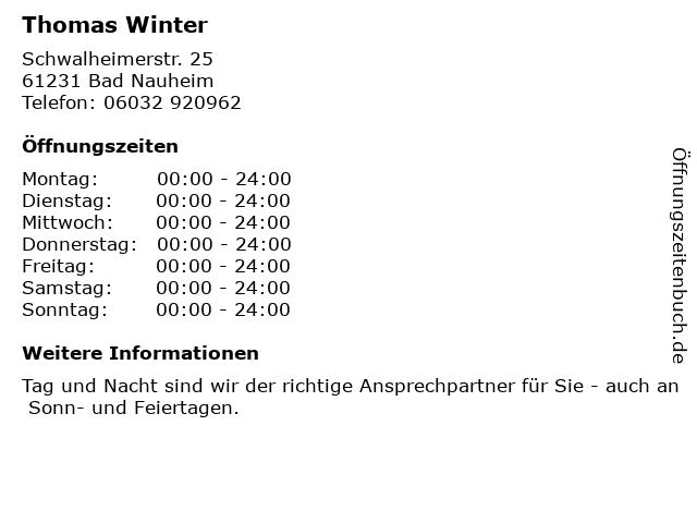 Thomas Winter in Bad Nauheim: Adresse und Öffnungszeiten