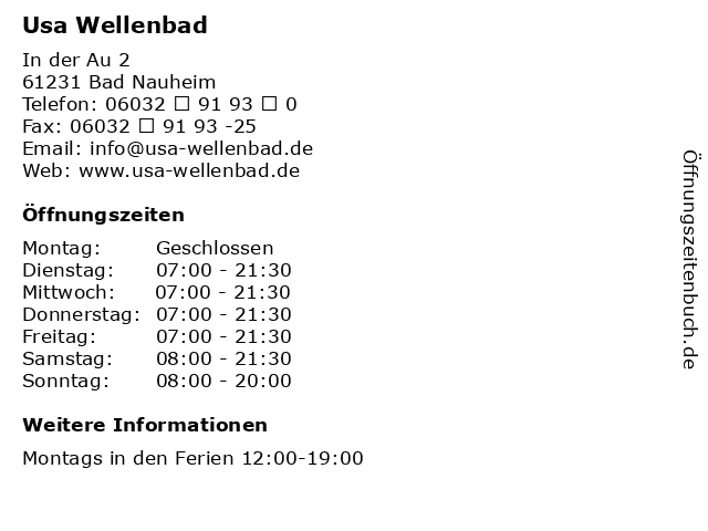 Usa Wellenbad in Bad Nauheim: Adresse und Öffnungszeiten