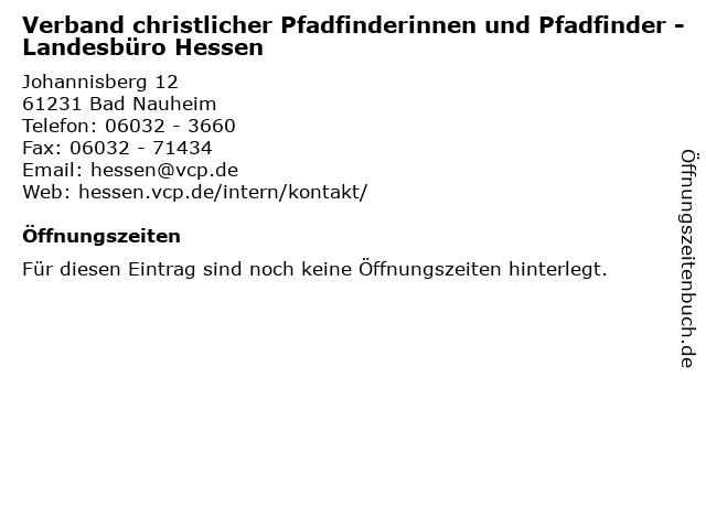 Verband christlicher Pfadfinderinnen und Pfadfinder - Landesbüro Hessen in Bad Nauheim: Adresse und Öffnungszeiten