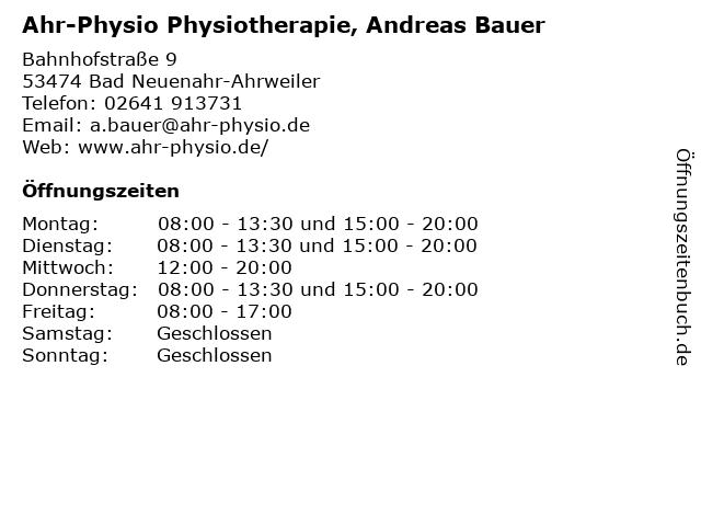 Ahr-Physio Physiotherapie, Andreas Bauer in Bad Neuenahr-Ahrweiler: Adresse und Öffnungszeiten