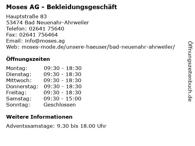 Moses AG in Bad Neuenahr-Ahrweiler: Adresse und Öffnungszeiten