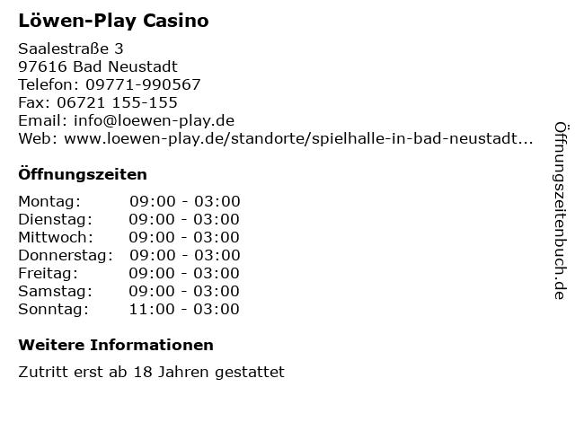 Löwen-Play Casino in Bad Neustadt: Adresse und Öffnungszeiten