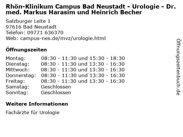 """ᐅ Öffnungszeiten """"Rhön-Klinikum Campus Bad Neustadt"""