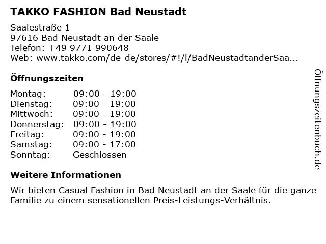 Takko Fashion in Bad Neustadt: Adresse und Öffnungszeiten