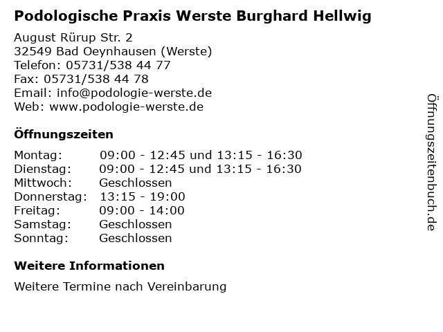 Podologische Praxis Werste Burghard Hellwig in Bad Oeynhausen (Werste): Adresse und Öffnungszeiten