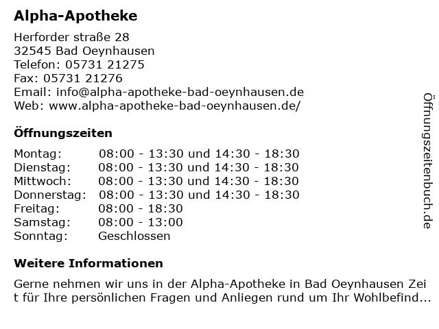 Alpha-Apotheke in Bad Oeynhausen: Adresse und Öffnungszeiten
