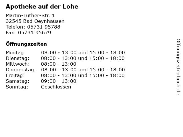 Apotheke auf der Lohe in Bad Oeynhausen: Adresse und Öffnungszeiten