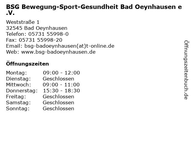 BSG Bewegung-Sport-Gesundheit Bad Oeynhausen e.V. in Bad Oeynhausen: Adresse und Öffnungszeiten
