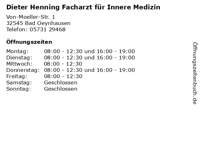 Dieter Henning Facharzt für Innere Medizin in Bad Oeynhausen: Adresse und Öffnungszeiten
