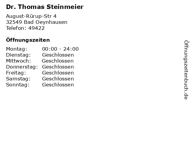 Dr. Thomas Steinmeier in Bad Oeynhausen: Adresse und Öffnungszeiten
