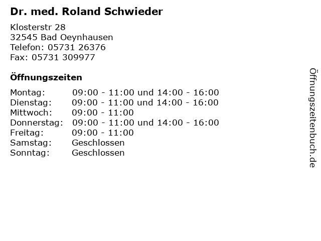 Dr. med. Roland Schwieder in Bad Oeynhausen: Adresse und Öffnungszeiten