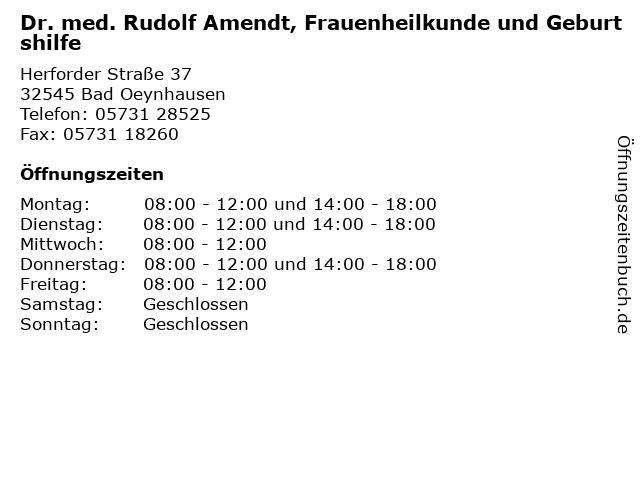 Dr. med. Rudolf Amendt, Frauenheilkunde und Geburtshilfe in Bad Oeynhausen: Adresse und Öffnungszeiten