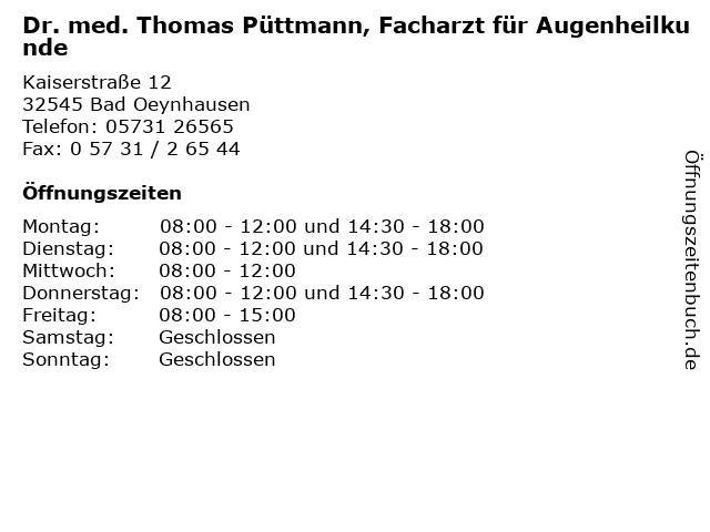Dr. med. Thomas Püttmann, Facharzt für Augenheilkunde in Bad Oeynhausen: Adresse und Öffnungszeiten