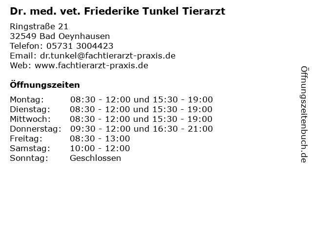 Dr. med. vet. Friederike Tunkel Tierarzt in Bad Oeynhausen: Adresse und Öffnungszeiten
