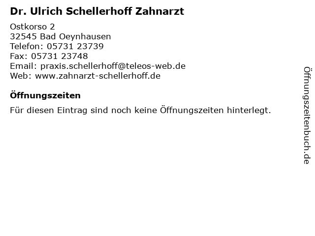 Dr. med.dent Ulrich Schellerhof Zahnarzt in Bad Oeynhausen: Adresse und Öffnungszeiten