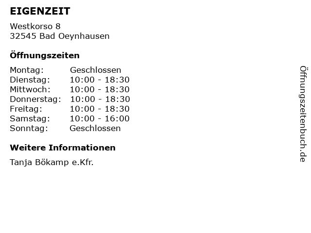 EIGENZEIT in Bad Oeynhausen: Adresse und Öffnungszeiten