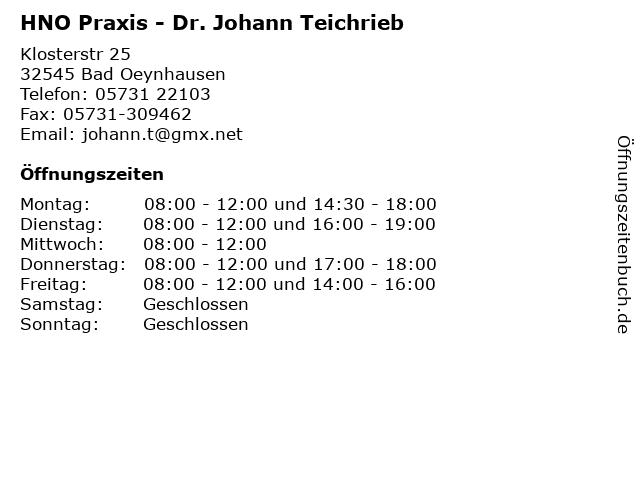 HNO Praxis - Dr. Johann Teichrieb in Bad Oeynhausen: Adresse und Öffnungszeiten